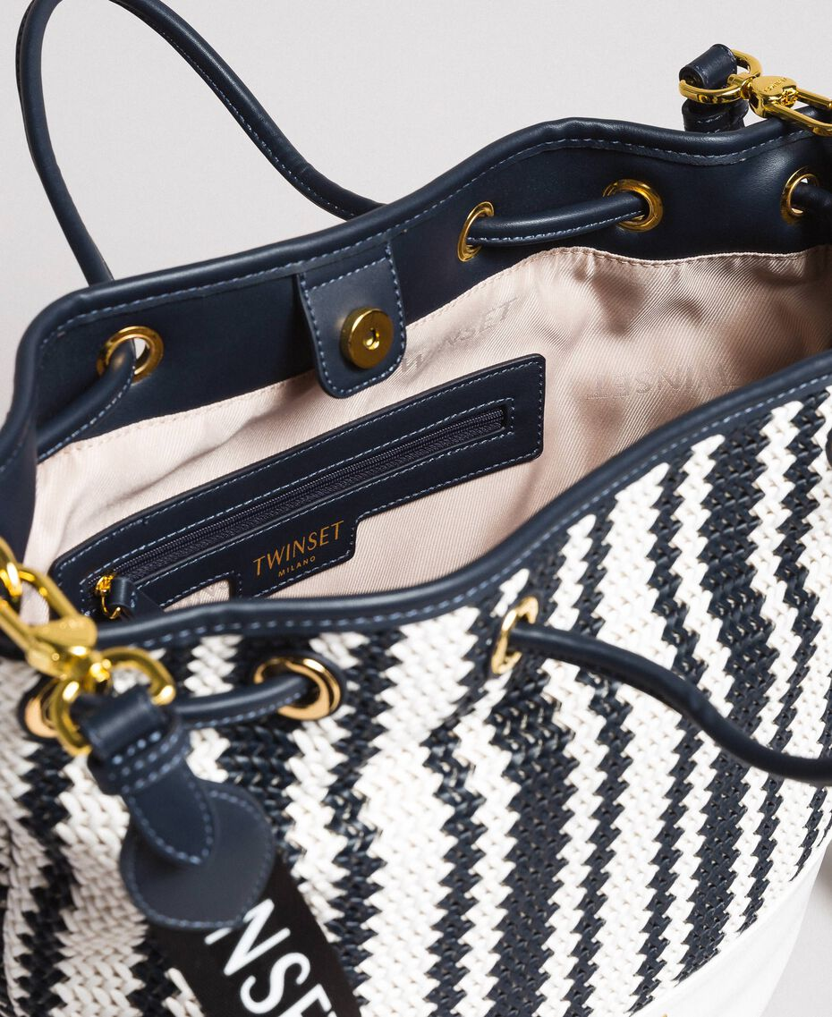 Plaited faux leather bucket bag Indigo Woman 191TO8131-05