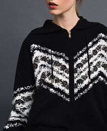 "Jacquard bomber jacket with floral chevron pattern Black / ""Papyrus"" White Jacquard Woman 192TP3231-04"