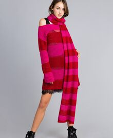 "Two-tone striped scarf Bicolour ""Poppy"" Red / ""Cerise"" Fuchsia Woman RA8T2J-0S"