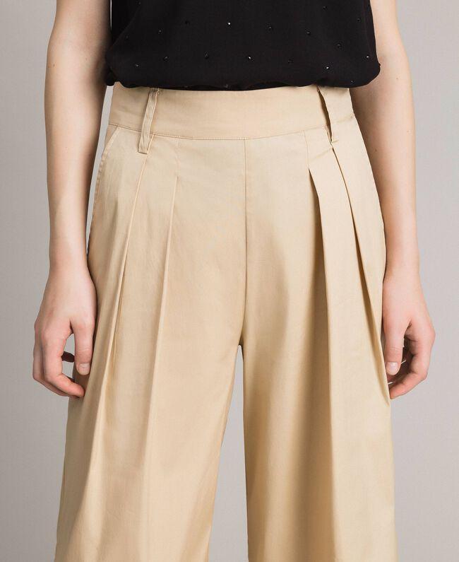 Pantaloni a palazzo in popeline Porcellana Beige Donna 191MP2213-04