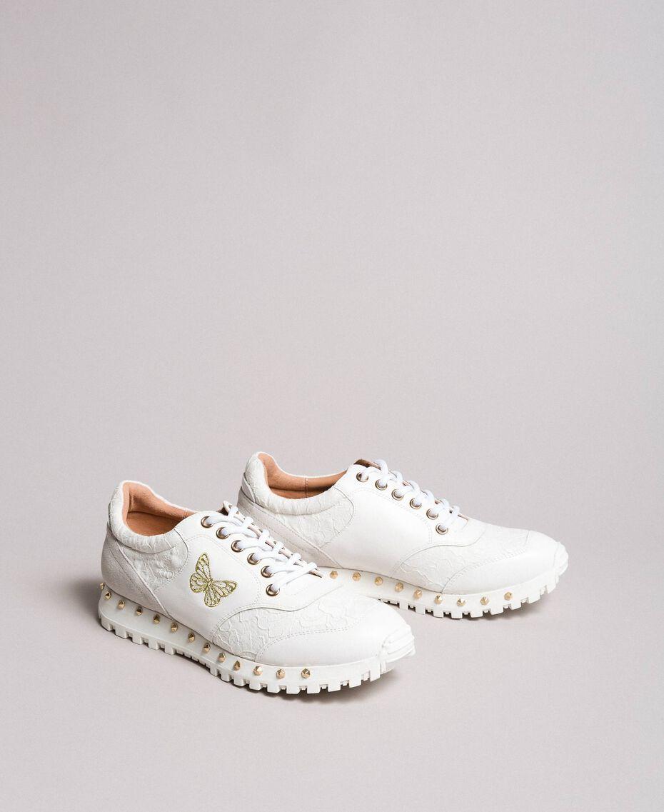 Sneakers aus Spitze und Wildleder Weiß Frau 191TCP026-02