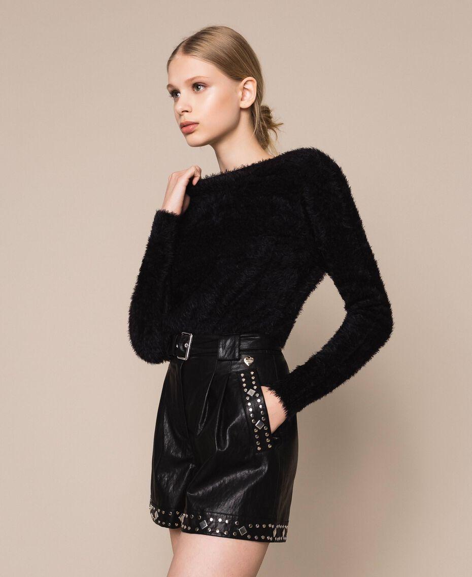 Fur effect yarn jumper-cardigan Black Woman 201TP3091-02