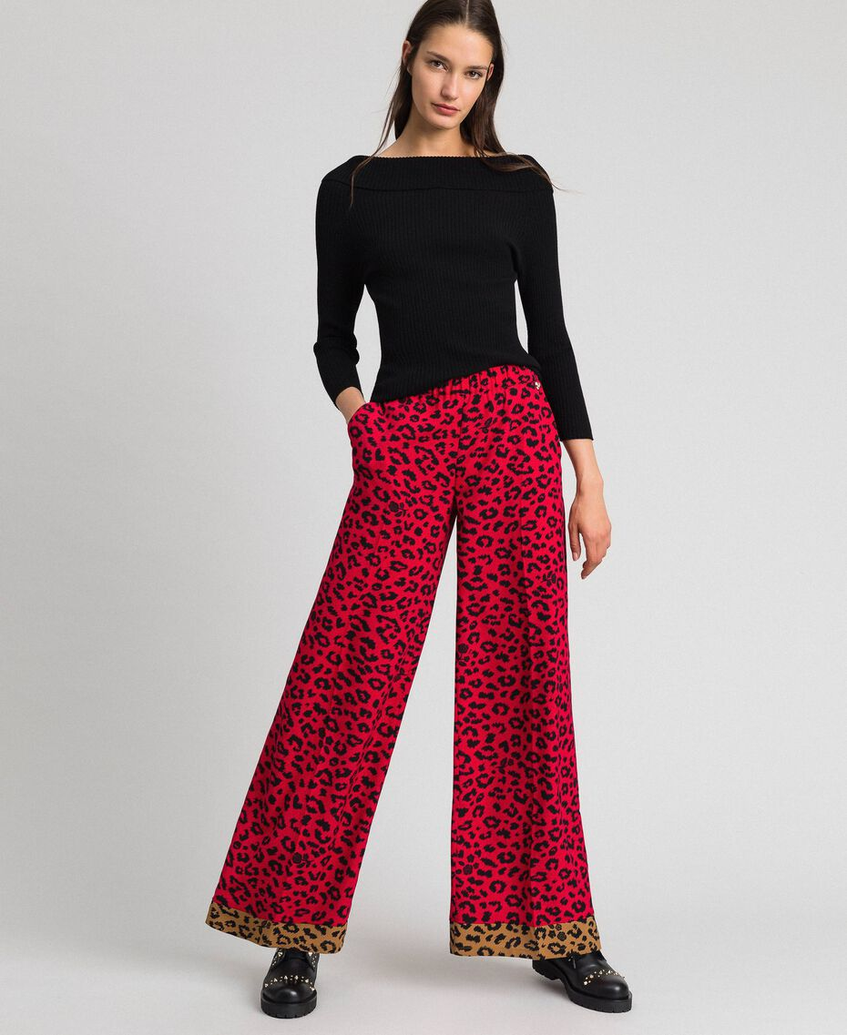"Animal print palazzo trousers ""Poppy"" Red / Black Animal Print Woman 192MP2374-01"