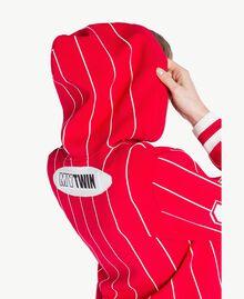 Pull court Bicolore Rouge Cerise / Blanc Optique Femme JS83HP-04