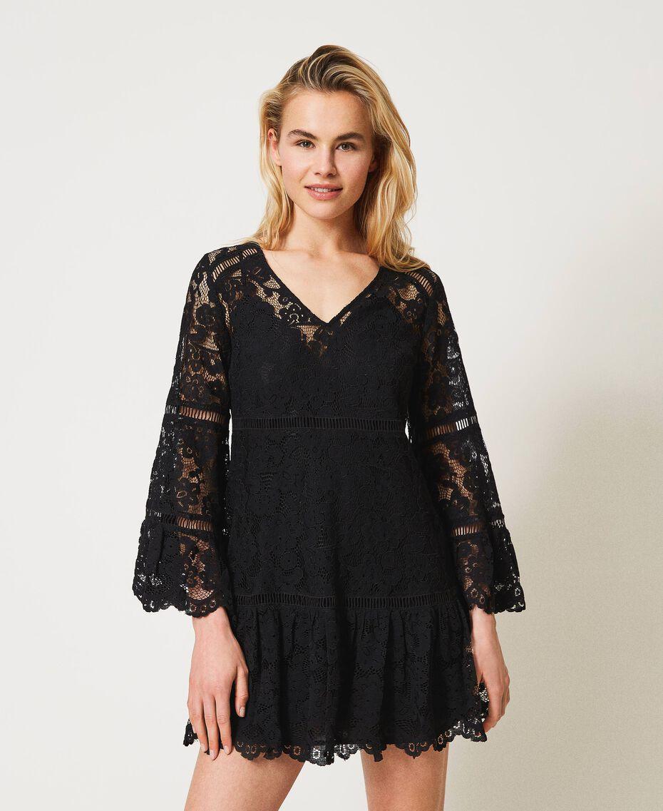 Robe en dentelle macramé Noir Femme 211LM2KJJ-01