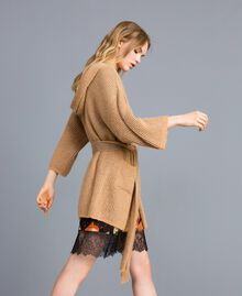 Knitted lurex cardigan Camel Gold Woman TA832B-01