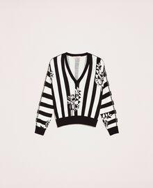 Пуловер квадратного кроя с вышивкой Принт Цветок на Полосатом фоне Снег / Черный женщина 201TP3264-0S