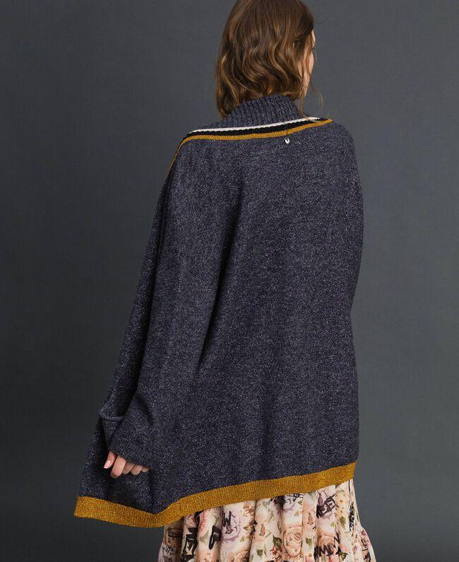 Maxi cardigan avec détails contrastés Plomb / Violet Pâle / Argent Femme 192MP3070-03