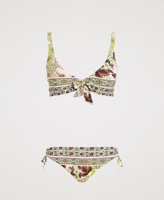 Shawl print bikini set with rhinestones
