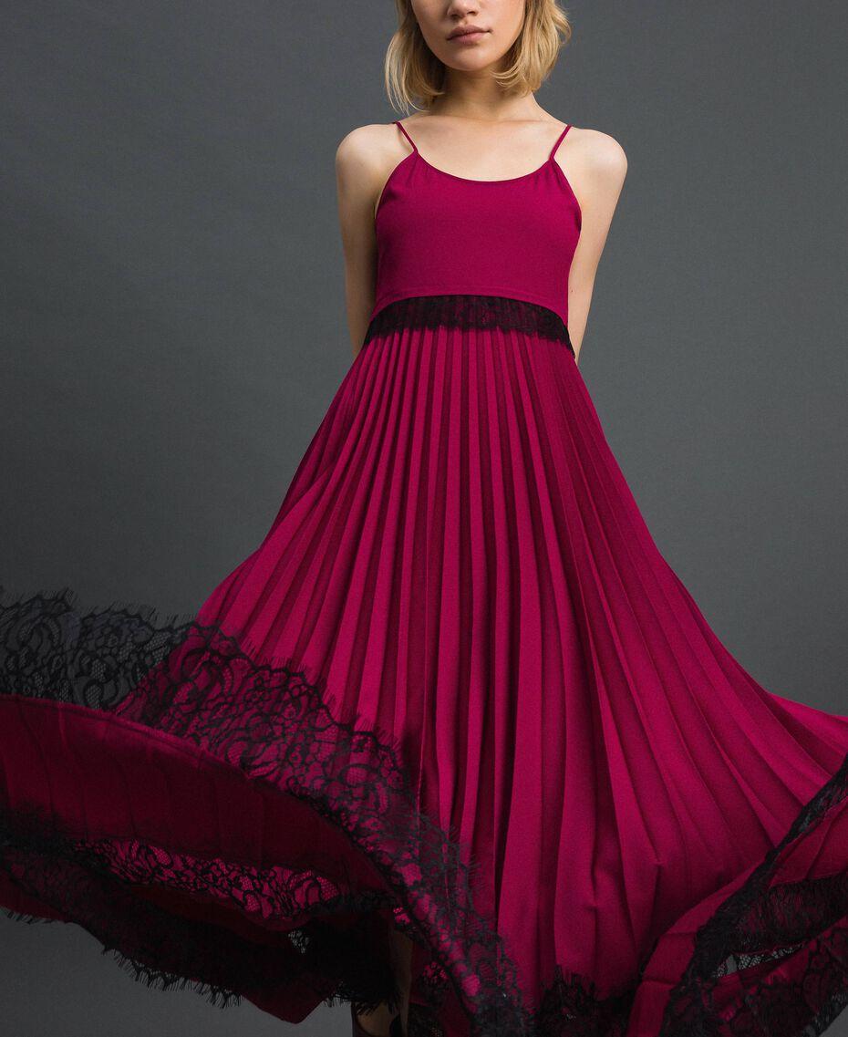 "Lace slip dress Bicolour Black / ""Snow"" White Woman 192TP2282-05"