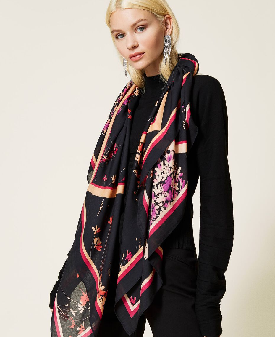 Kefiah con stampa floreale e logo Stampa Wild Flowers Nero Donna 212AA406A-0S