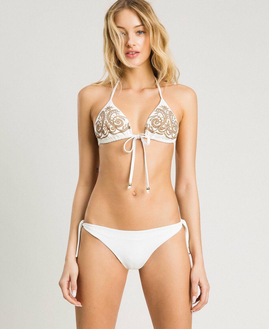 Triangle bikini top with embroideries and rhinestones Ivory Woman 191LMMR22-0S