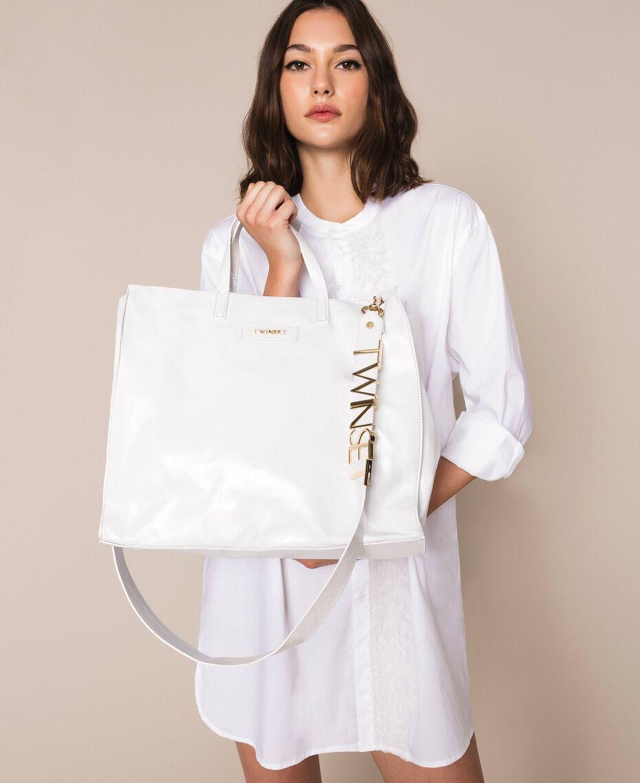 Borsa shopper in pelle con logo Bianco Neve Donna 201TA7090-0S