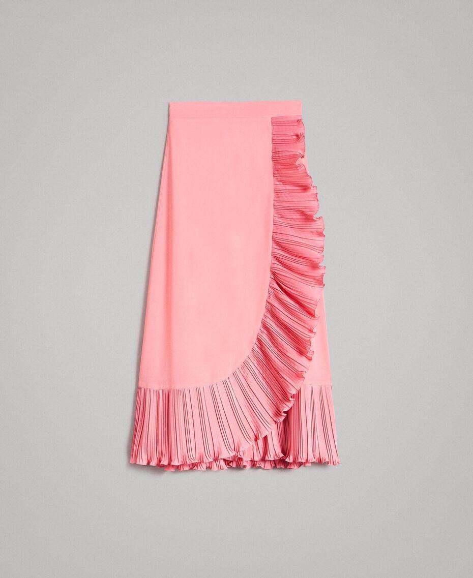 "Maxirock aus plissierter Seidenmischung ""Wild Rose"" Pink Frau 191TP2146-0S"
