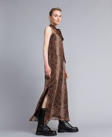 Long animal print chiffon silk dress Chocolate Snake Print Woman PA829C-02