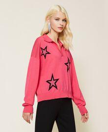 """Maglia a polo con stelle Bicolor Rosa """"Bubblegum"""" / Nero Donna 212AP3122-04"""