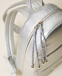 Quilted backpack with logo Silver Woman 202MO8020-04