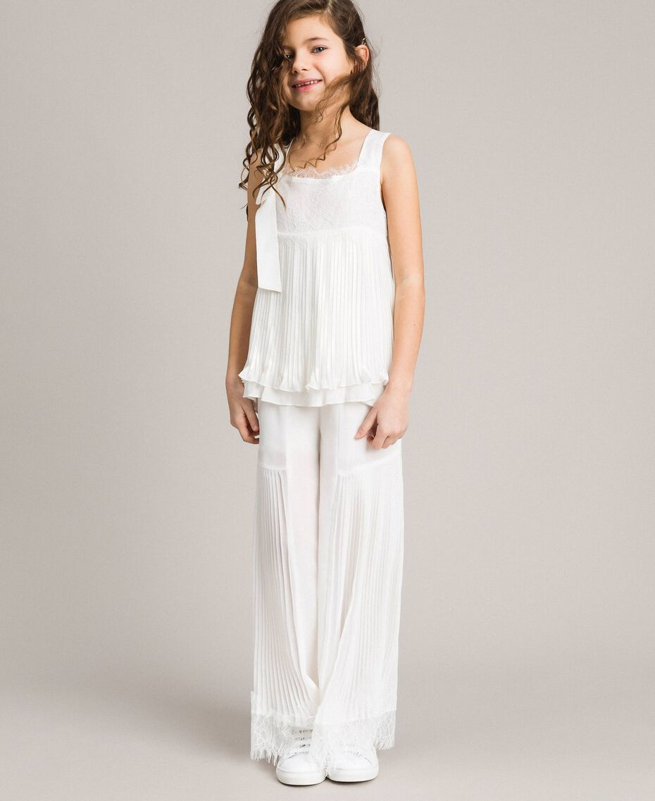 Pleated georgette top with lace Off White Child 191GJ2QA0-02