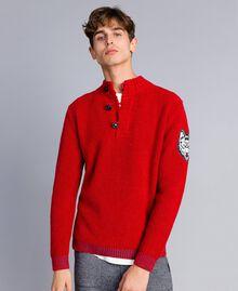 Pull en laine et alpaga Rouge Coquelicot Homme UA83DC-01