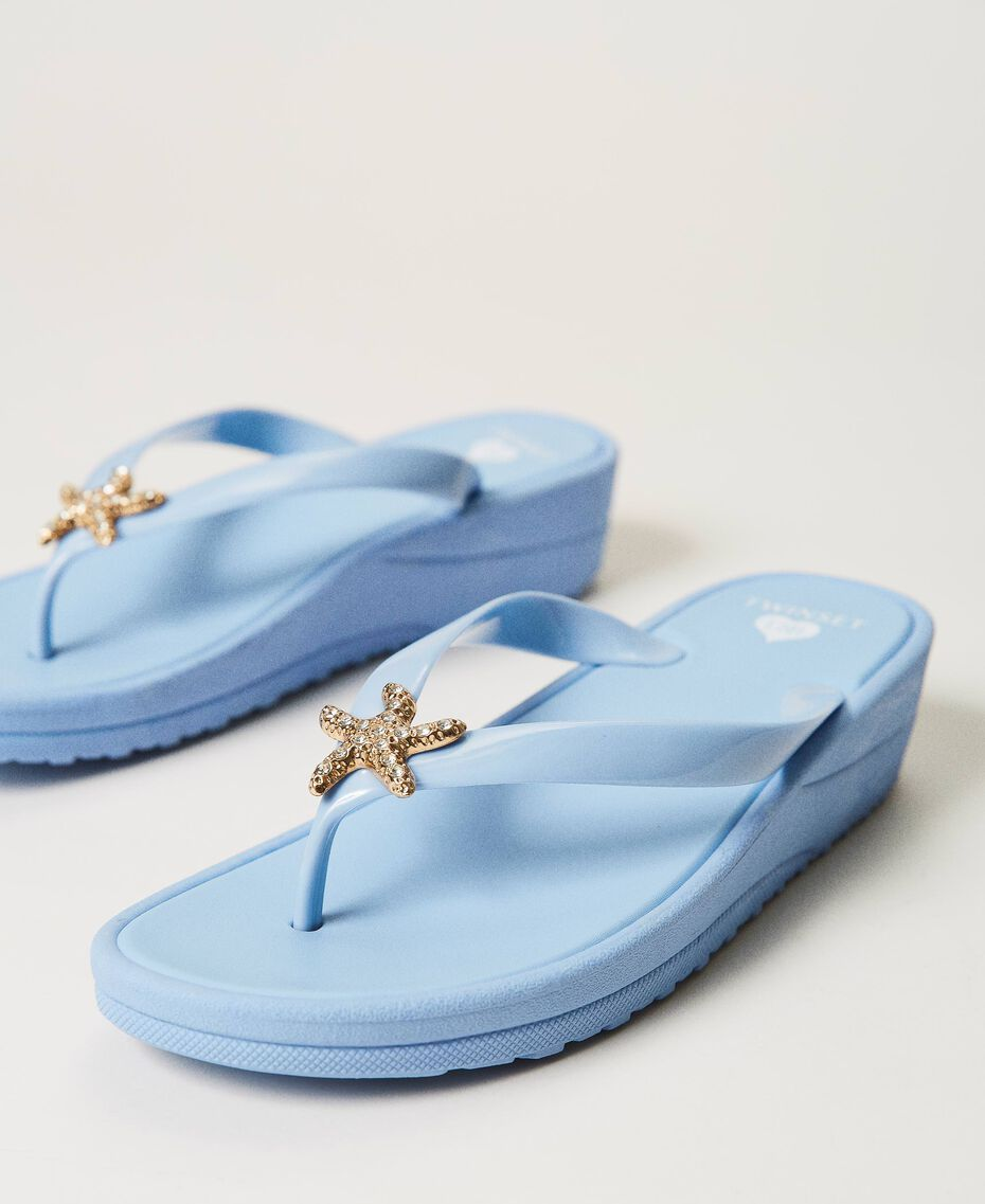 "Thong sandals with jewel detail ""Sky"" Blue Woman 211LMPZPP-01"