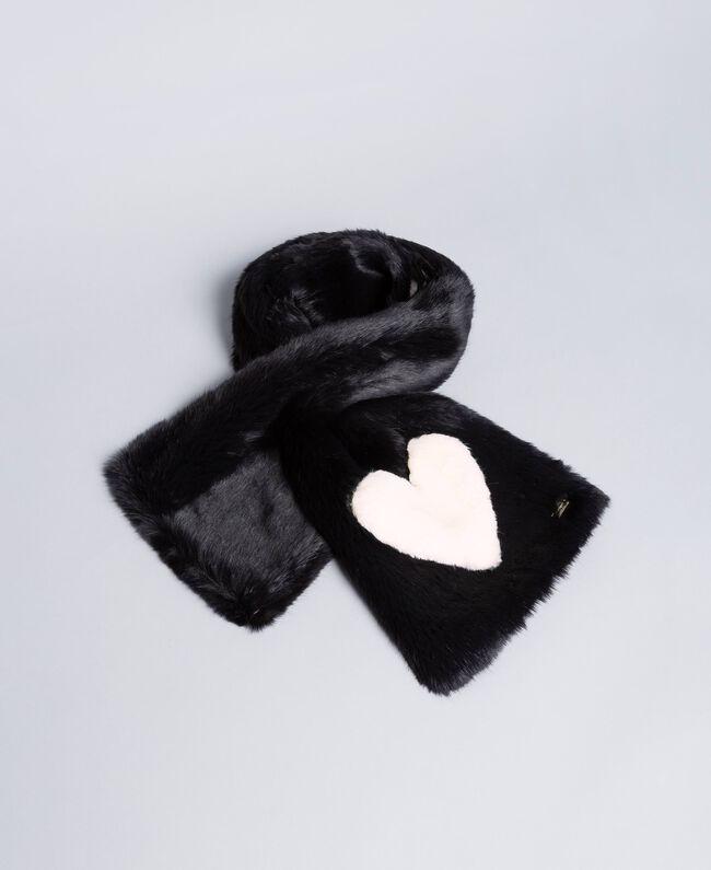 Étole en fausse fourrure avec cœur Bicolore Noir / Rose «Blush» Enfant GA8FC4-01