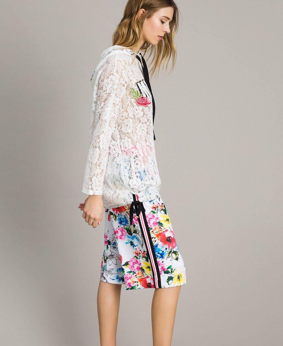 Pantalon cropped en molleton imprimé Imprimé Fleur Multicolore Blanc Optique Total Femme 191MT2362-02