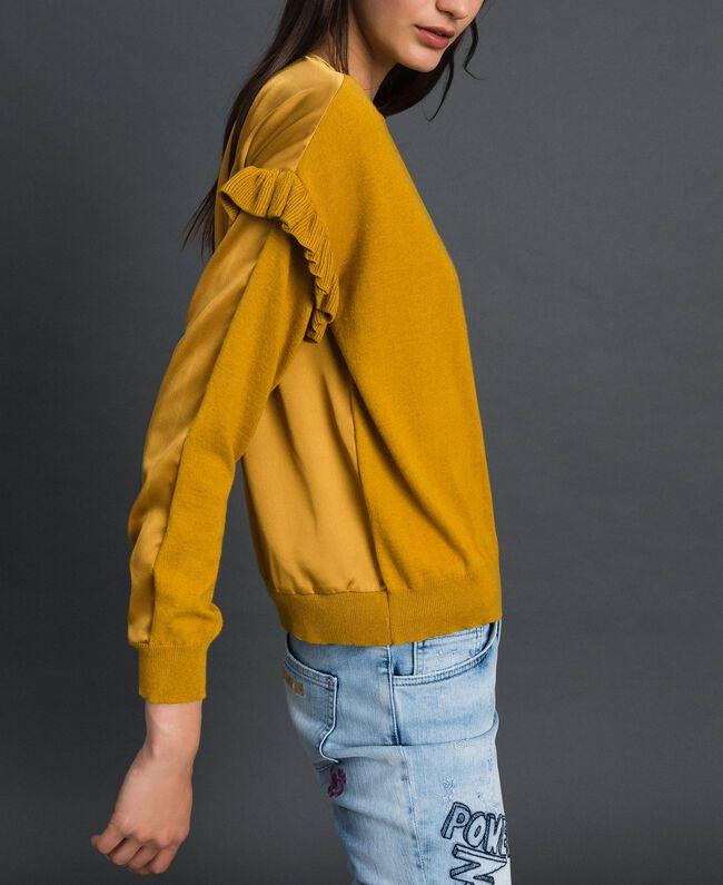 Boxy jumper with asymmetric flounce Saffron Yellow Woman 192MP3193-04