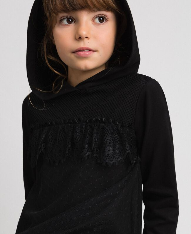 Sweat avec insertion en filet, tulle et dentelle Noir Enfant 192GJ2321-04