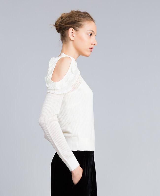 Pullover aus Wollmischung mit Mustermix Weiß Schnee Frau PA83C3-01