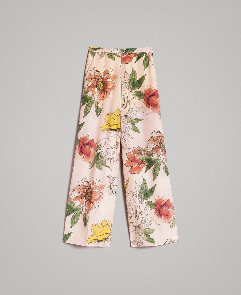 "Floral print crêpe de Chine trousers All Over ""Shell"" Beige Flower Print Woman 191MT2212-0S"