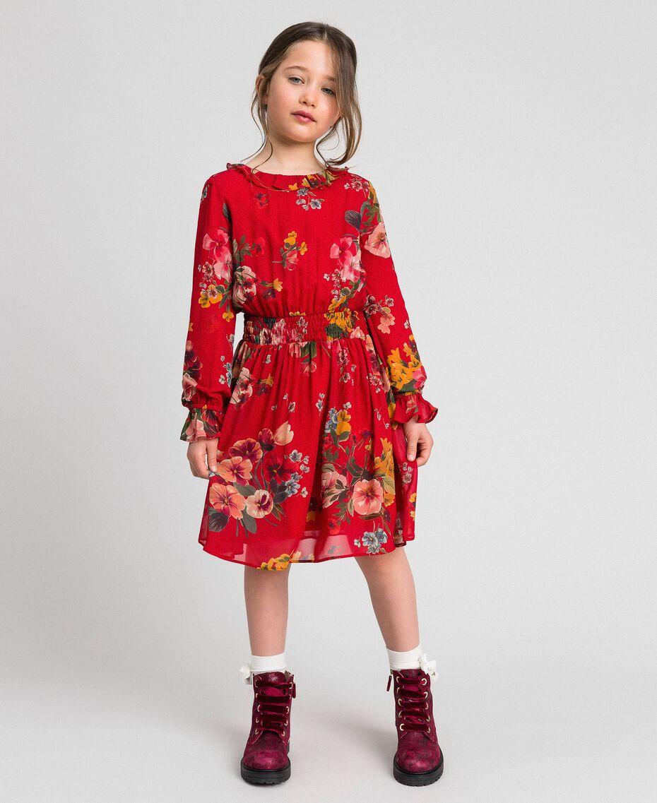 Robe en crêpe georgette avec imprimé floral Imprimé Fleurs des Champs Grenadier Enfant 192GJ2592-02
