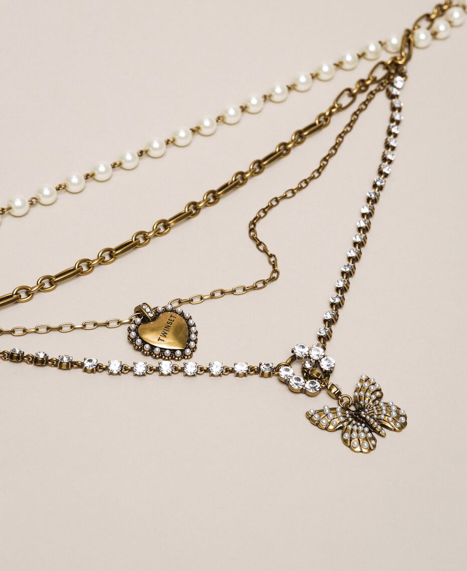 """Mehrreihige Halskette mit Perlen, Ketten und Strass """"Kupfriges Altmessing""""-Gold Frau 201TA430C-02"""