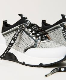 """Leather trainers with rhinestones Two-tone """"Off White"""" / Silver Child 211GCJ020-04"""