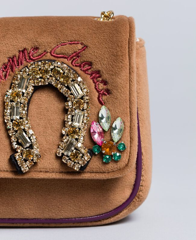 Mini velvet shoulder bag with embroidery and rhinestones Camel Woman AA8PBP-01