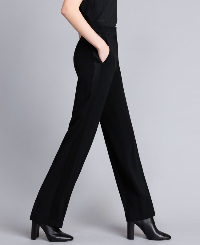 Envers satin palazzo trousers Black Woman QA8TGP-04