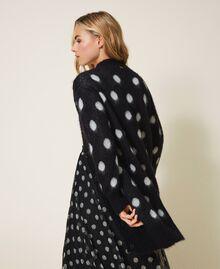 Polka dot jacquard maxi cardigan Two-tone Black / Snow White Jacquard Woman 202TT3222-03