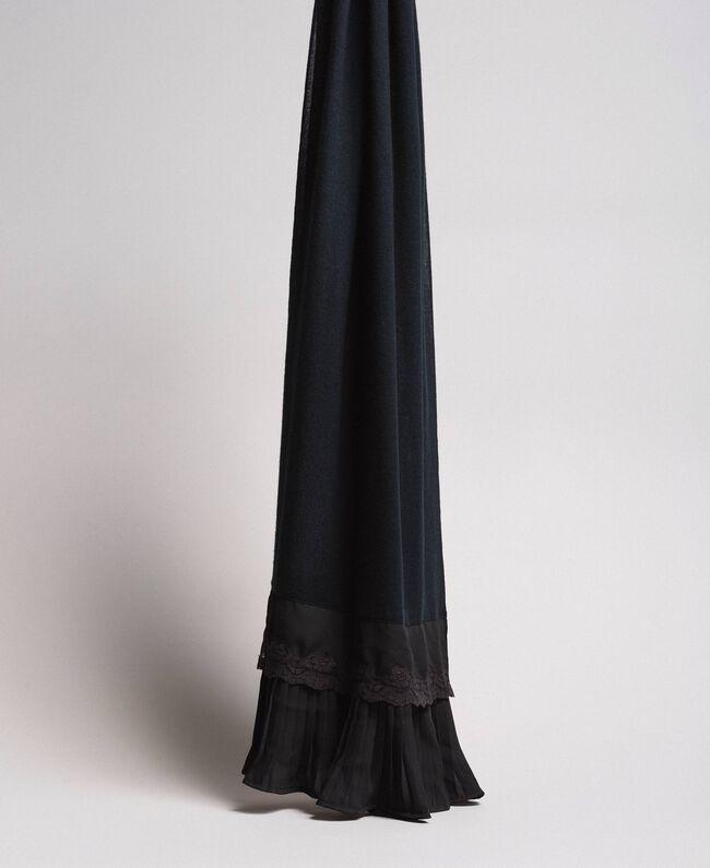 Écharpe plissée en coton mélangé Noir Femme 191TA436C-01
