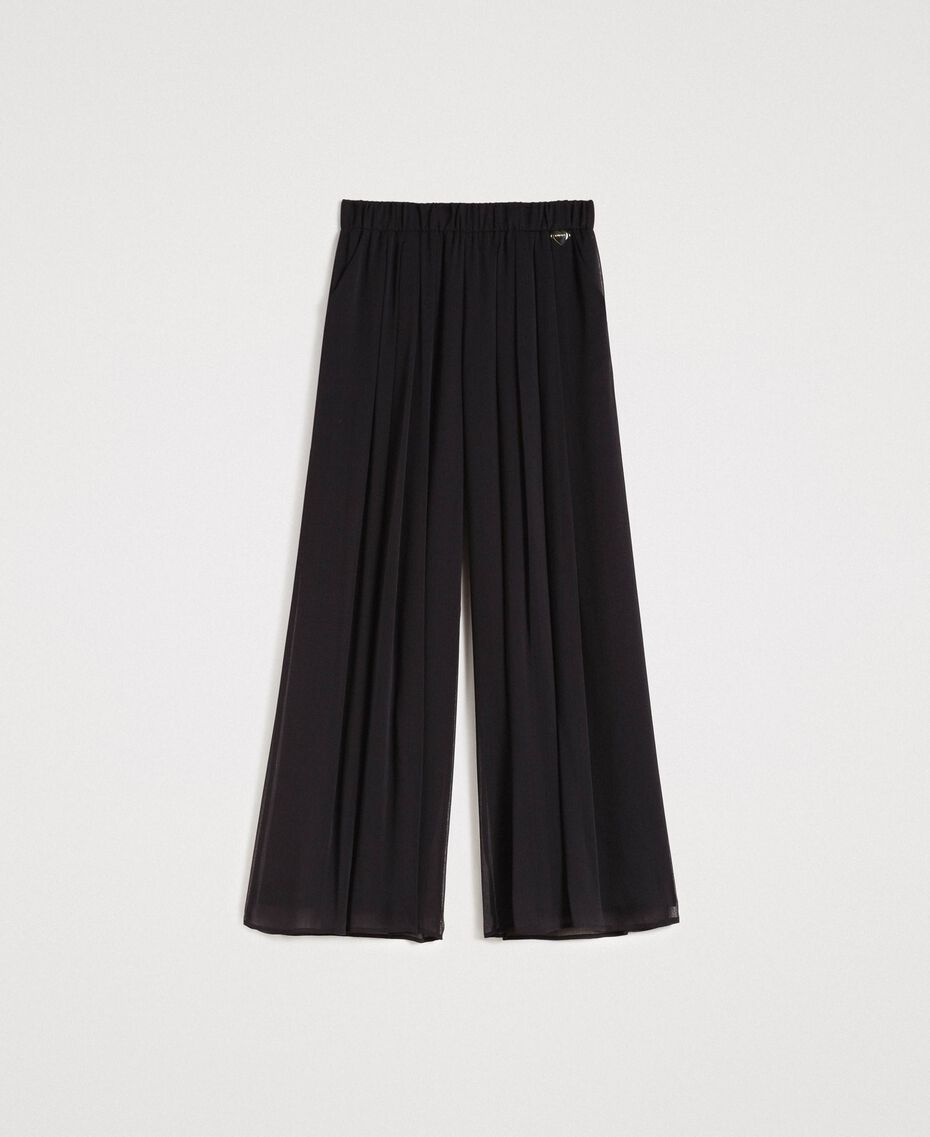 Crepon palazzo trousers Black Woman 191LB21JJ-0S