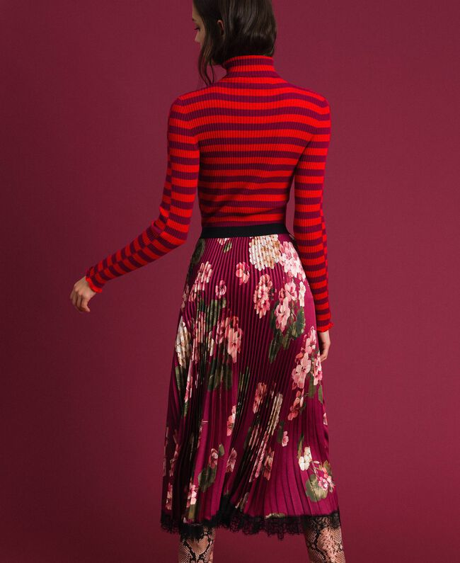 Long pleated skirt in floral twill Beet Red Geranium Print Woman 192TP2609-03