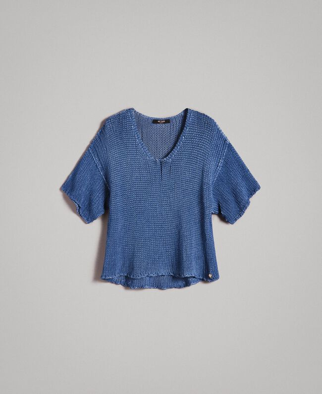 Double-sided V-neck top Cobalt blue Woman 191MT3011-0S
