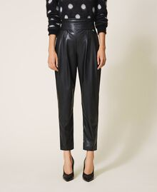 High waist faux leather trousers Black Woman 202TP2061-02