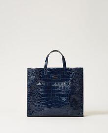 """Большая кожаная сумка-шоппер Twinset Bag Принт Голубой Крокодил """"Темно-синий"""" женщина 202TB7110-02"""
