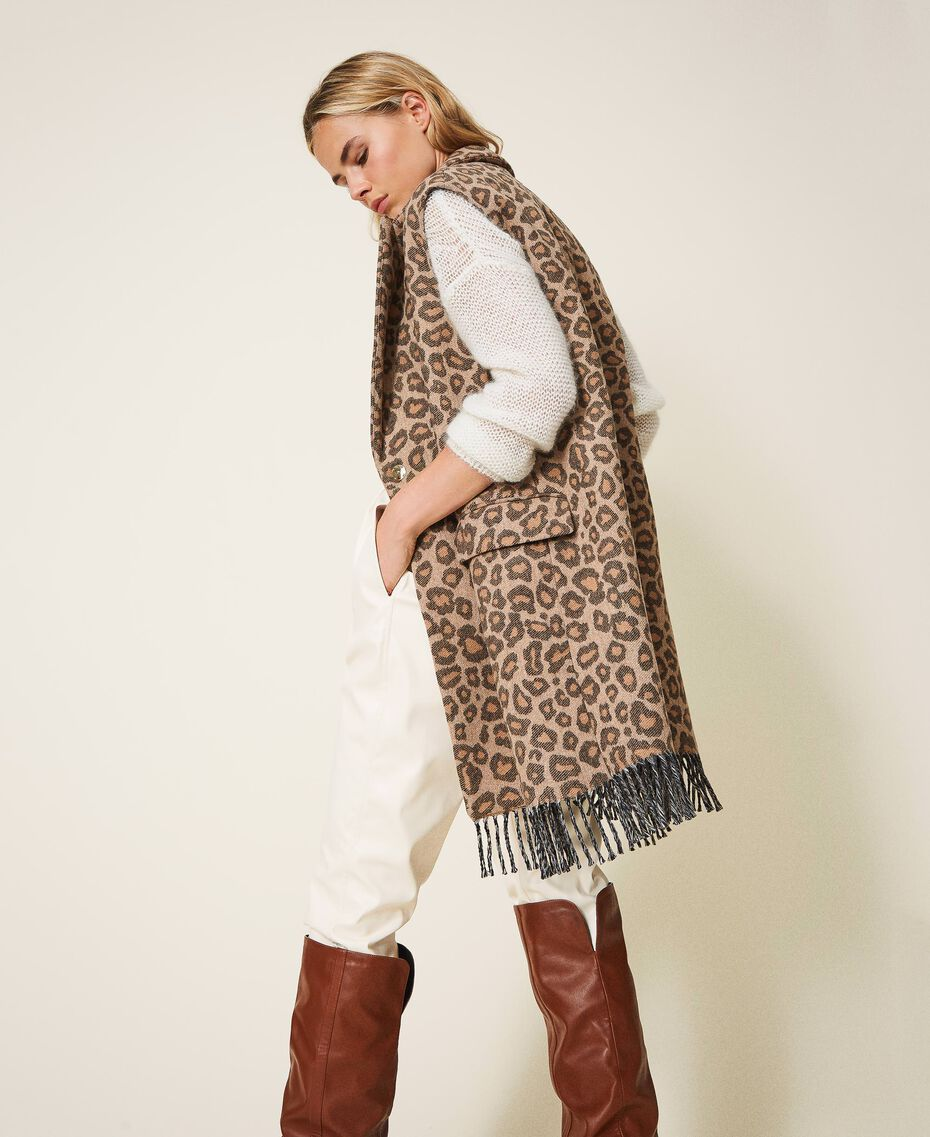 Animal print jacquard wool cloth waistcoat Walnut / Tobacco Animal Print Jacquard Woman 202TT213B-01