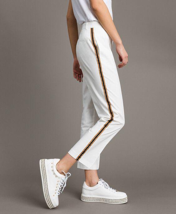 Poplin drainpipe trousers