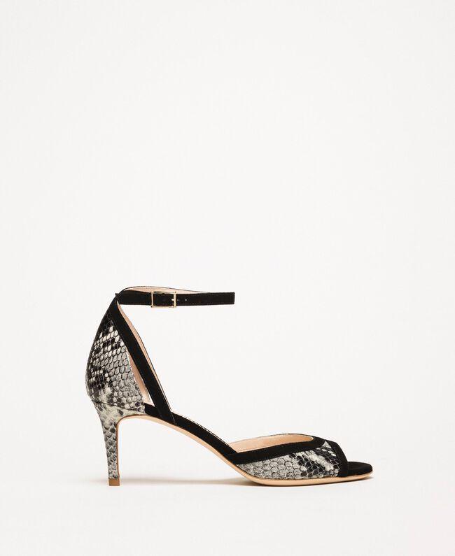 Leather sandals with python print Two-tone Pale Rock Python Print / Black Woman 201TCP022-01