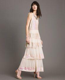Robe longue en georgette ornée de sequins Rose Bouton Femme 191TP2580-02