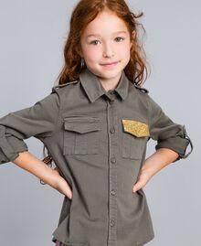 Chemise en coton avec paillettes Olive Enfant GA827Q-0S