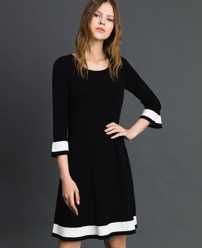"Contrasting band dress Black / ""Papyrus"" White Woman 192TP3102-01"