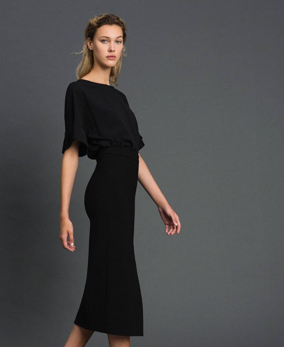 Robe mi-longue fendue Noir Femme 192TT2083-02