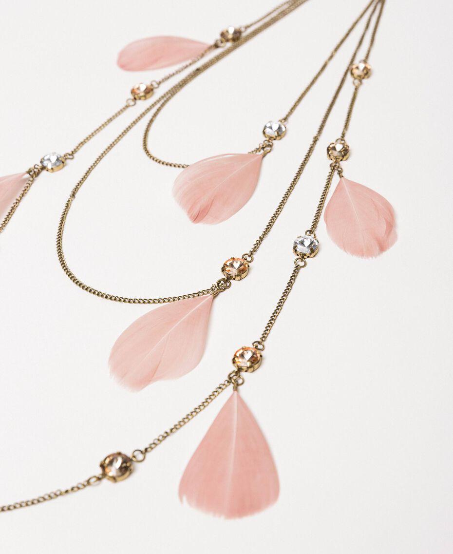 Halskette mit Federn und Strass Blütenknospenrosa Frau 201TA4314-02